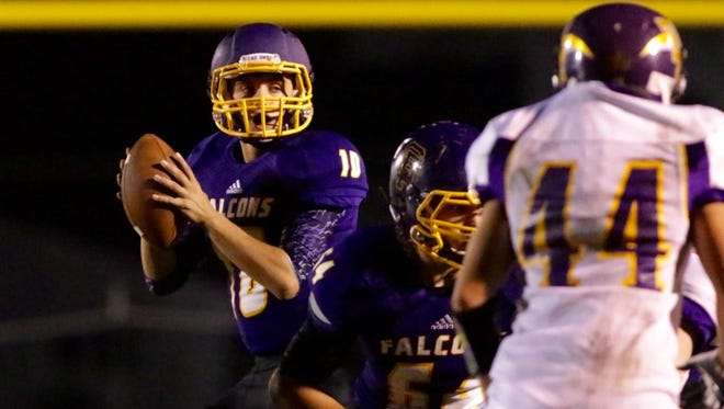 Falcons quarterback Ryan Schmitt found Austin Elsing in for a 38 yard score in the third quarter.
