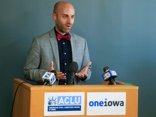 Daniel Hoffman-Zinnel, executive director of One Iowa, at a press conference in 2017.