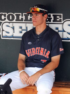 Virginia center fielder Adam Haseley (7) was selected in the first round of the MLB Draft by the Philadelphia Phillies on Monday.
