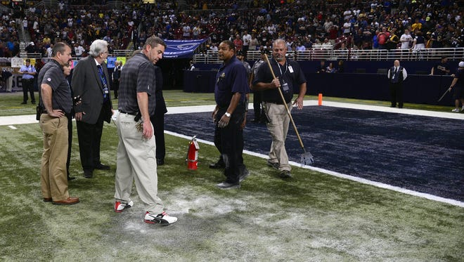 A turf fire delayed the Rams-Steelers game