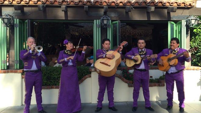 A Mariachi Tesoro performs outside Las Casuelas Terraza in downtown Palm Springs.