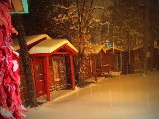 Cabins in Ruidoso looked cozy in the snow.