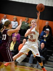 Palmyra's Josie Stovall launches a shot against Mechanicsburg during an overtime win Tuesday night.