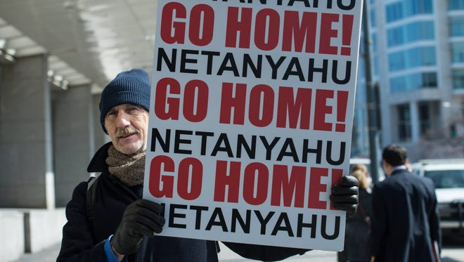 Outside the Washington Convention Center where Israeli Prime Minister Benjamin Netanyahu spoke Monday.