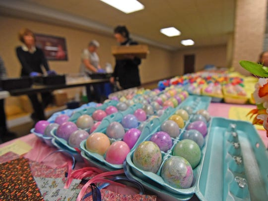 Decorated egss are available at the St. Peter's Easter Bake Sale in the church basement.