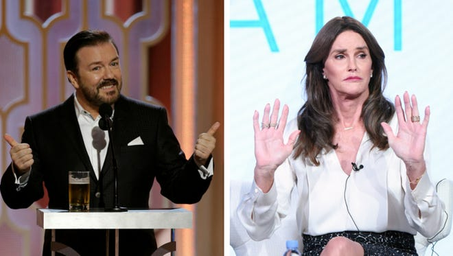 Gervais at the Golden Globes and Jenner at the TCAs.