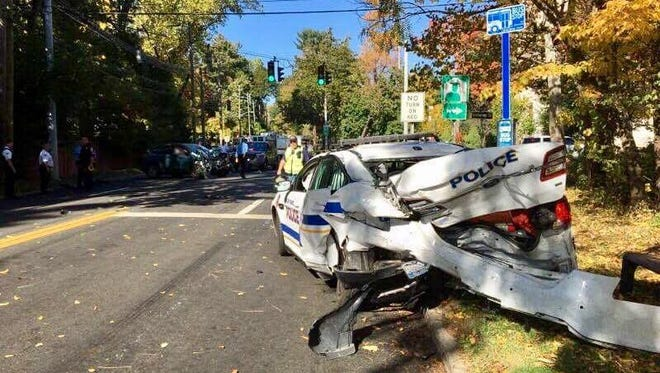 A police chase that ended with the suspect rear-ending a cruiser has closed a stretch of Route 9 in Ossining this afternoon.