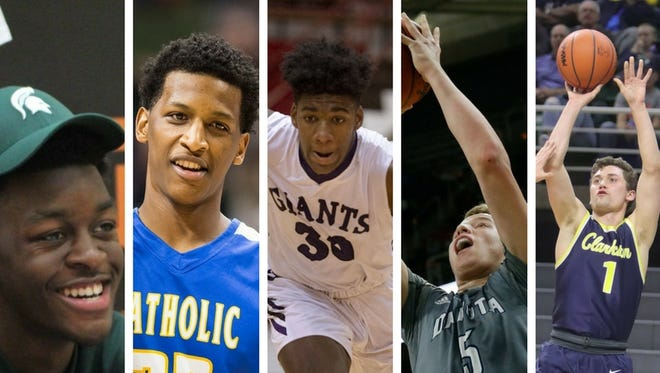 Michigan State basketball's 2018 recruiting class. From left: Gabe Brown, Marcus Bingham Jr., Aaron Henry, Thomas Kithier and Foster Loyer.