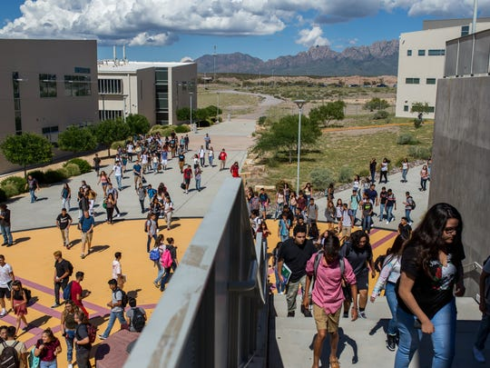 Students make their way home after the first day of