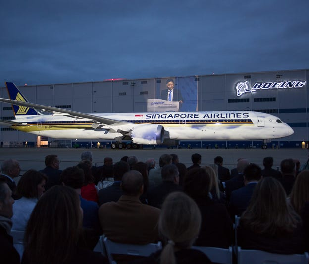 Singapore Airlines takes delivery of Boeing's first 787-10 widebody jet at a ceremony at its Charleston, S.C., factory on March 28, 2018.