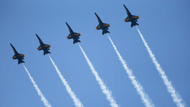 A plane in the Blue Angels stunt group lost a small piece of a wing at Saturday's performance at the Rochester International Airshow.