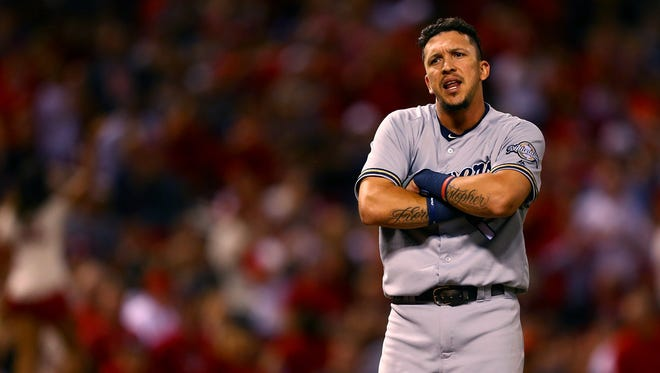 Hernan Perez isn't pleased after being ejected from the game on Saturday night,