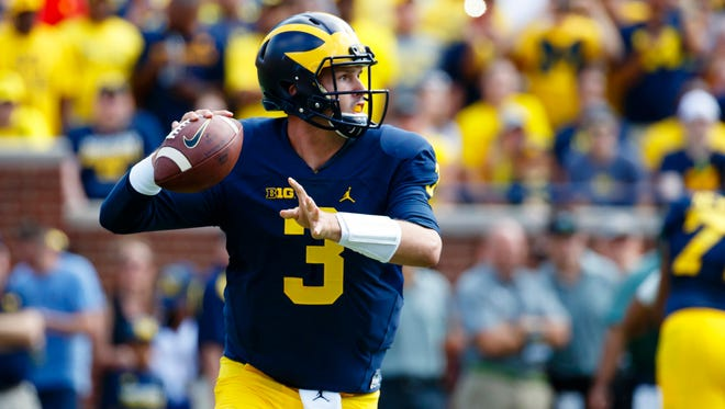 Michigan quarterback Wilton Speight has completed 63.2% of his passes this season with nine touchdowns and just one interception.