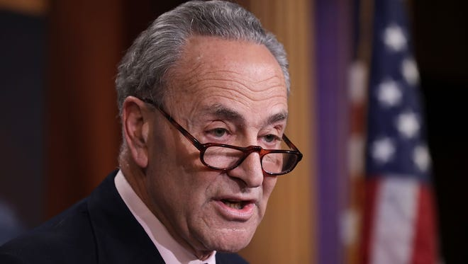 Senate Minority Leader Chuck Schumer holds a news conference at the U.S. Capitol following the firing of FBI Director James Comey by President Trump on May 9, 2017.