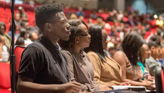 Cass Technical High School senior, Jayson Law, 16, listens to oral arguments before the Michigan Supreme Court for the People v Elisah Kyle Thomas case on Wednesday, Oct. 25, 2017 in Detroit.