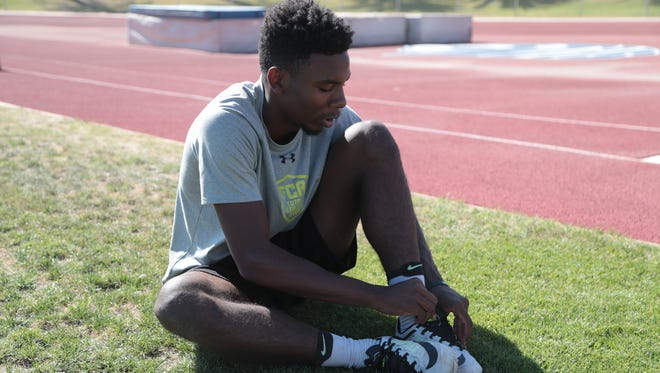 James Green gets ready for some practice jumps in preparation for Saturday's Master's Meet, Cathedral City, Calif., May 20, 2018.