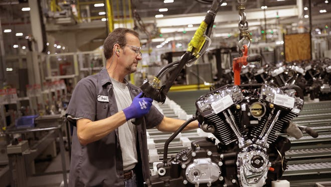 Harley-Davidson motorcycle engines are assembled at the company's Powertrain Operations plant in Menomonee Falls, Wis. June 1, 2018.