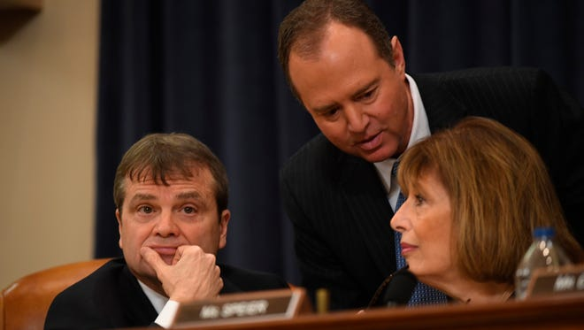Rep. Mike Quigley, D-Ill., pictured on the left in 2017, was the sponsor of an amendment that would have provided election security grants to states. The amendment failed on Thursday.