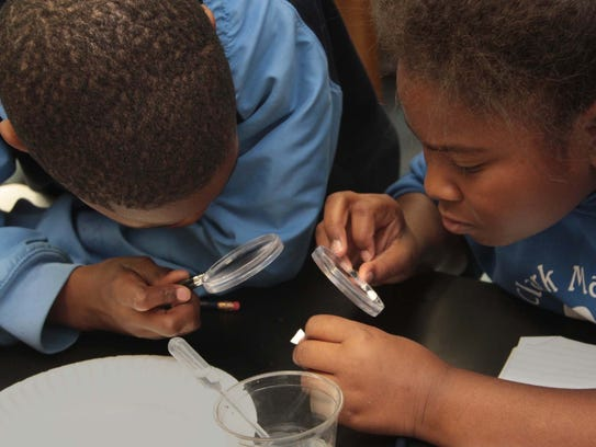 Fifth grade students in a Monroe school analyze chemical