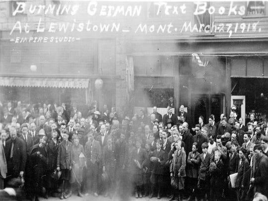 A Lewistown mob burns the high school's German textbooks in 1918.