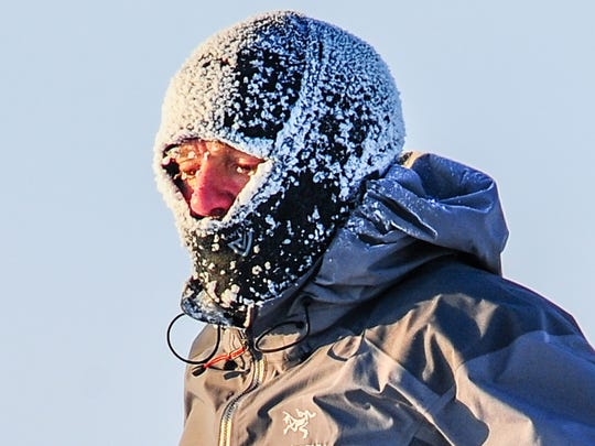 Ice caked Brad Beall's head gear while running in the
