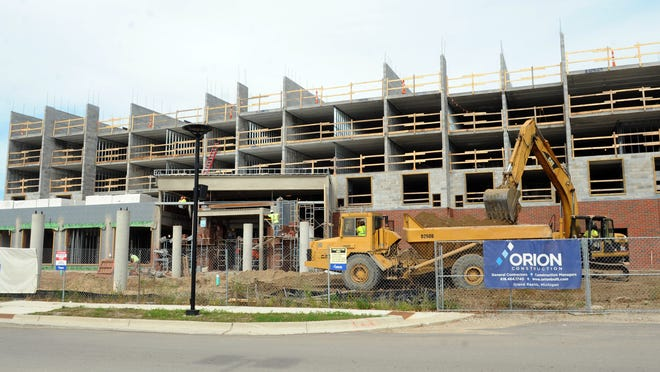A Hyatt Place hotel under construction at The Heights at Eastwood, a retail development north of Eastwood Towne Center in Lansing Township.
