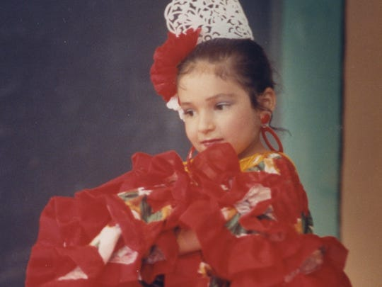 Flamenco dancer, Stacy Fuentes, performs during the talent show at the 1991 Fiesta del Concho.