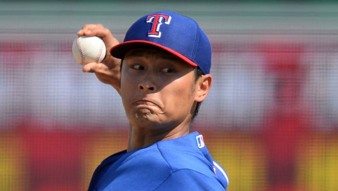 Rangers pitcher Yu Darvish led the American League in strikeouts last season with 277 and finished second in Cy Young Award voting.