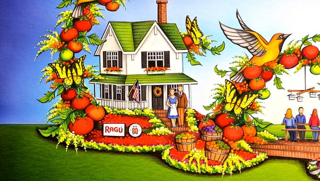 A rendering of The Ragu float in the 128th Rose Parade presented by Honda. It will include a tribute to the founders' Rochester home.