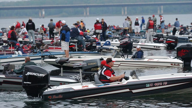 BassCat anglers wait to head out for a day of fishing.