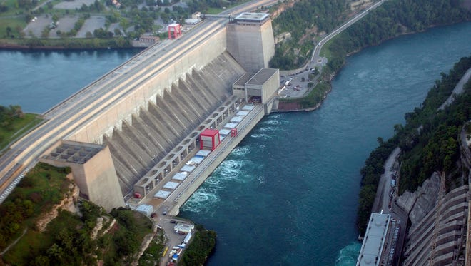 The Robert Moses Niagara Power Plant along the Niagara River, as seen from the air in Lewiston, N.Y. New York is on the left and Canada is on the right.