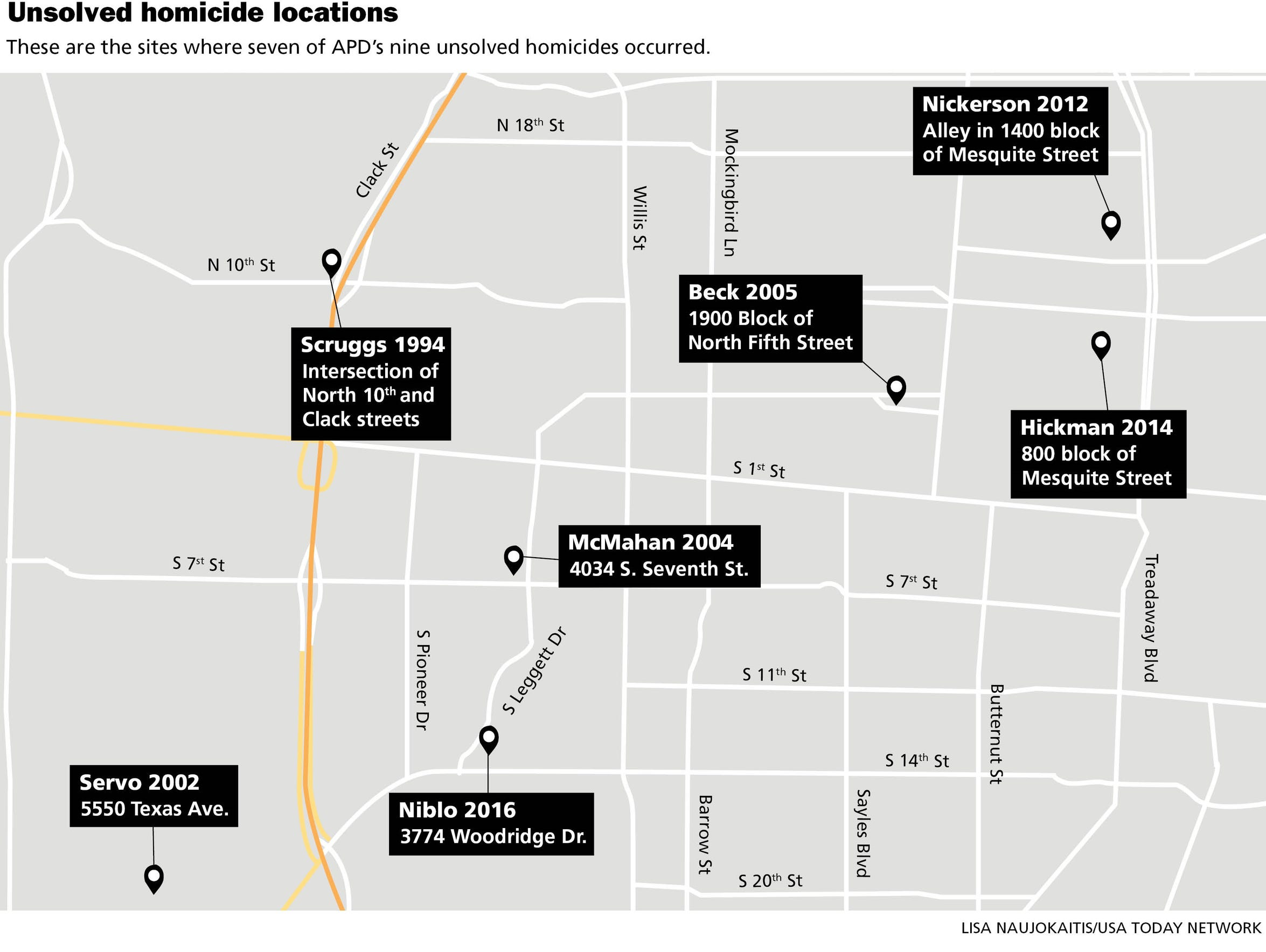 This map shows seven of the nine sites where unsolved