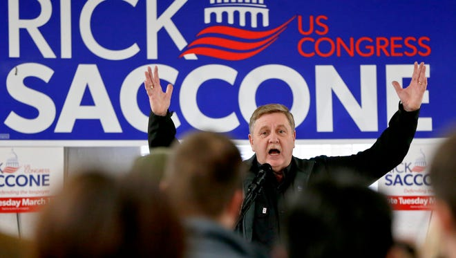 Republican candidate for the House of Representatives in Pennsylvania Rick Saccone in Waynesburg, Pa., on March 5, 2018.