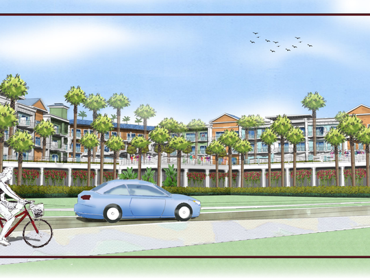 After some false starts, TPI Hospitality filed its first application Thursday for a resort spanning 10 high visibility acres in downtown Fort Myers Beach. Shown, a conceptual overview of the resort from the point of view of someone standing in Times Square, the central public space downtown.