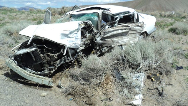 A photo of the white 1988 Mercedes-Benz sedan involved in a fatal head-on collision along U.S. 50 Alternate near Fernley. The accident killed a 19-year-old woman and hospitalized four others.