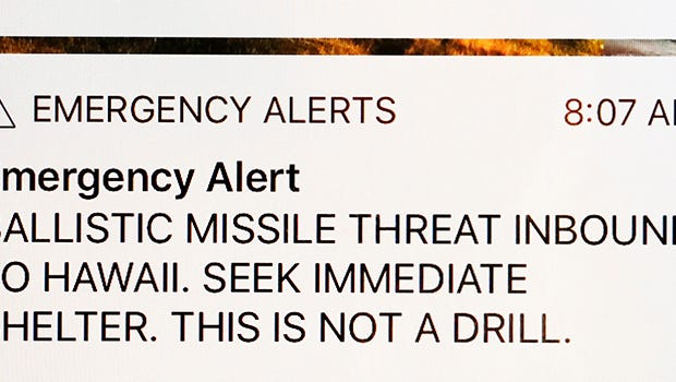 Jan 13, 2018; Honolulu, HI, USA; A screen grab of an emergency alert of a Ballistic Missile Inbound To Hawaii texted to players and to residents in Hawaii at 8:07 AM Hawaii time before the start of the third round of the Sony Open golf tournament at Waialae Country Club.  At 8:45 AM a new message was sent out indicating this first message was a false alarm. Mandatory Credit: Brian Spurlock-USA TODAY Sports ORG XMIT: USATSI-363736 ORIG FILE ID:  20180113_gma_ss1_379.jpg