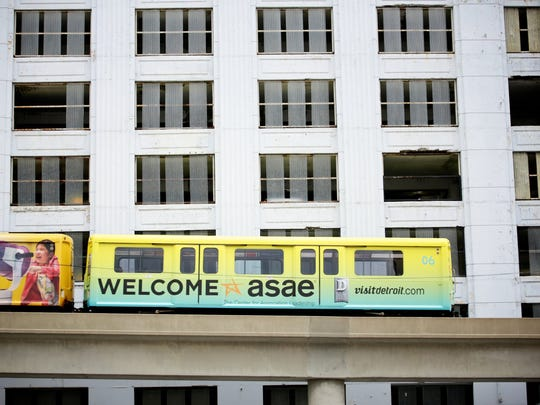 Artwork is seen on Monday, August 3, 2015, on the people mover as part of welcoming preparations for the American Society of Association Executives (ASAE) third annual convention, that will take place on August 8-11, bringing 6,000 meeting and convention planners to Detroit.