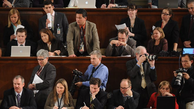 Members of the media listen to President Obama's  2011 State of the Union Address. (H. Darr Beiser, USA TODAY)