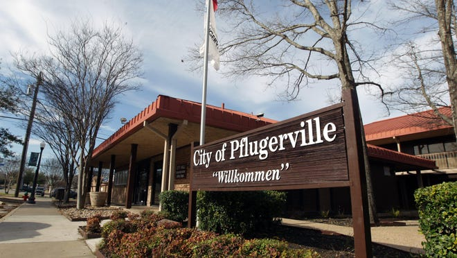 Pflugerville City Hall and other administrative offices are located along East Main Street in downtown Pflugerville.