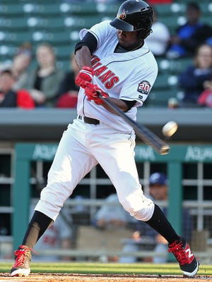 Indianapolis Indians first baseman Josh Bell (18) bats early in the Indianapolis Indians home opener, Victory Field, Indianapolis, Thursday, April 14, 2016.