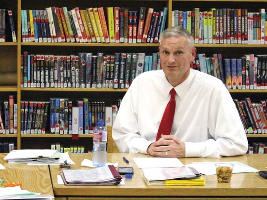 Treynor Community Schools Superintendent Kevin Elwood at school board meeting in Treynor on March 14, 2016.