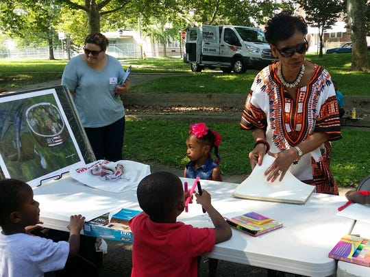 Eunice La Fate leads an art project in Price's Run Park.