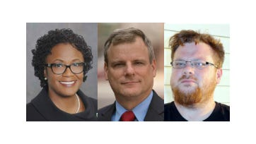 C. Kim Bracey, left, Michael Helfrich and Dave Moser are candidates for York mayor.