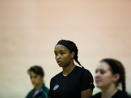 October 9, 2017 - Alyiah Wells practices with her volleyball