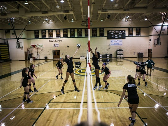 October 9, 2017 - The girls volleyball team practices