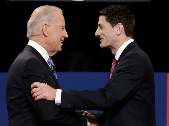 Vice President Joe Biden and Republican vice presidential nominee Rep. Paul Ryan of Wisconsin shake hands before the vice presidential debate at Centre College on Oct. 11, 2012, in Danville, Ky.
