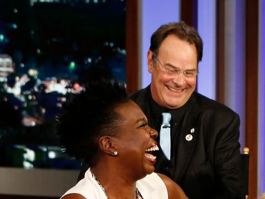 "Dan Aykroyd, top left, called the people hurling racial insults at Leslie Jones (bottom left) ""insignificant gnats."""