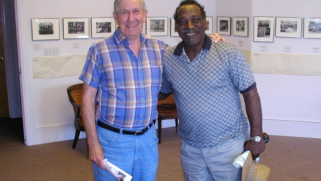 Paul Ross and James Harrison, retired train engineers, 2002.