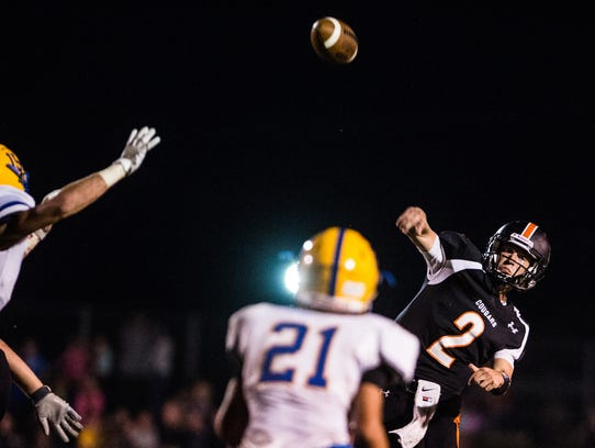 PalmyraÕs Grant Haus throws for the endzone over a