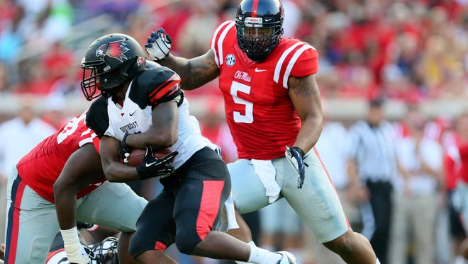Ole Miss rising junior Robert Nkemdiche (5) is expected to have a breakout year for the Rebels on the defensive line.